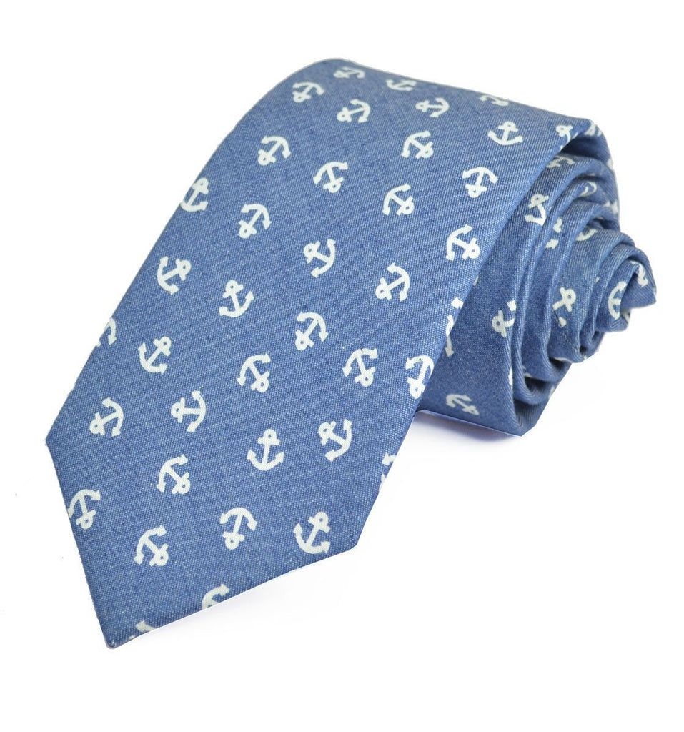Light Blue Anchor Cotton Tie with Pocket Square Paul Malone Ties - Paul Malone.com
