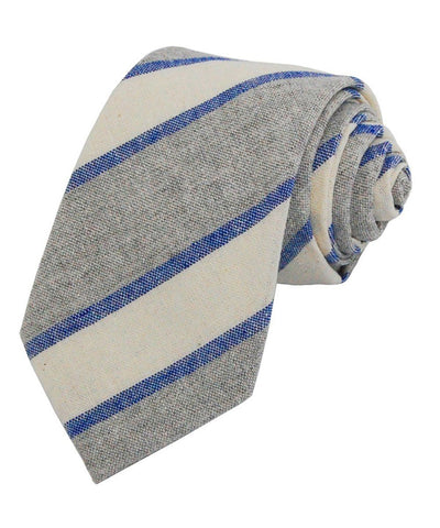 Blue, Grey and White Striped Linen Necktie Paul Malone Ties - Paul Malone.com