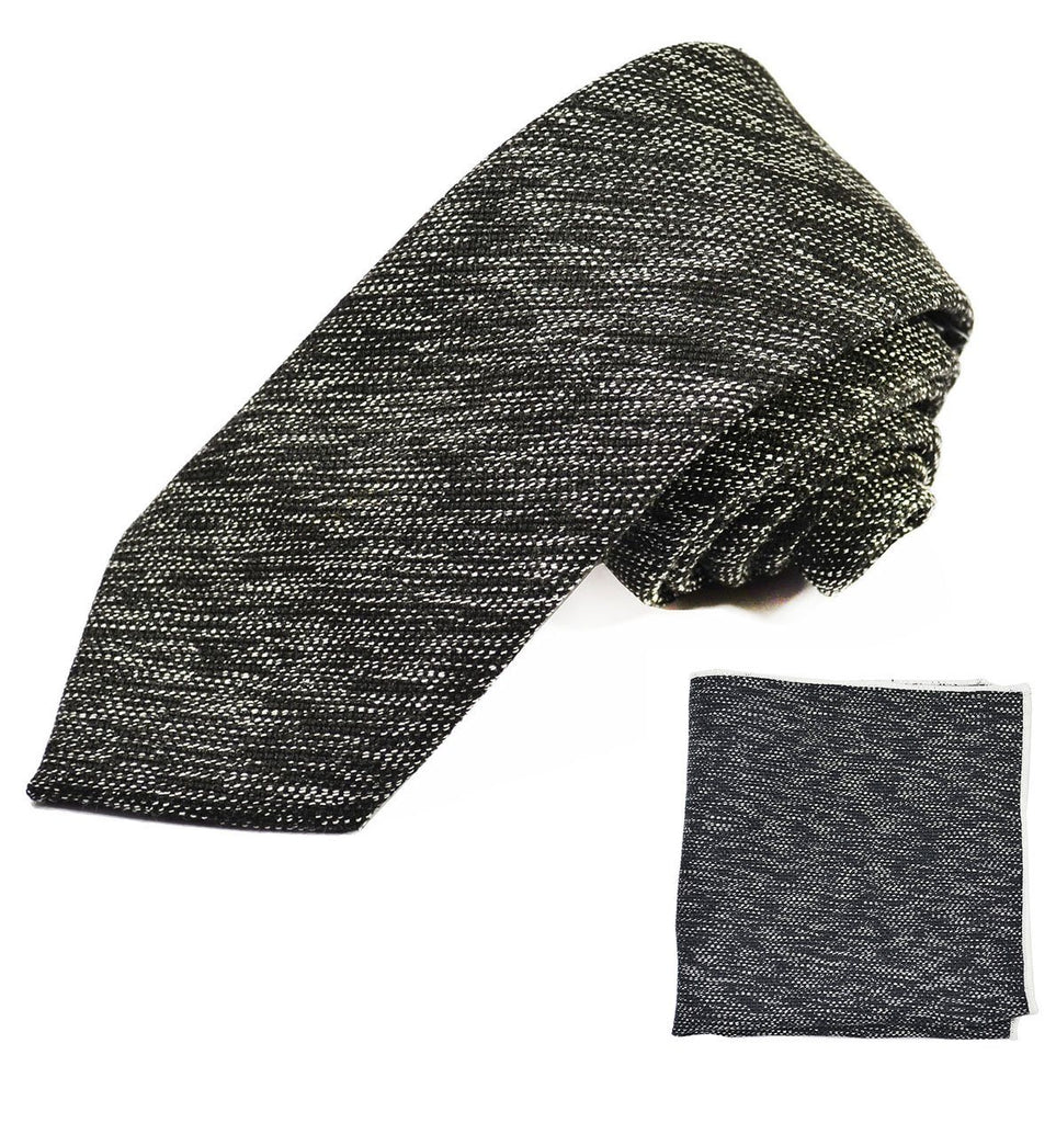 Black Cotton Tie Set by Paul Malone Ties Paul Malone