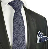 Navy Blue Cotton Tie Set by Paul Malone Ties Paul Malone