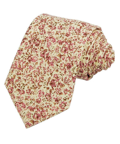 Bridal Rose Pink Floral Cotton Necktie Paul Malone Ties - Paul Malone.com