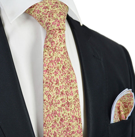 Pink. Brown and White Cotton Necktie by Paul Malone