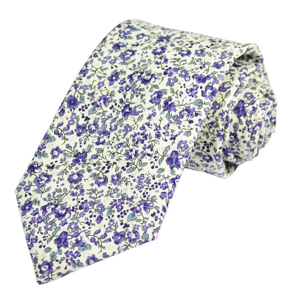 Mulled Grape Flowered Cotton Tie Set by Paul Malone Paul Malone Ties - Paul Malone.com