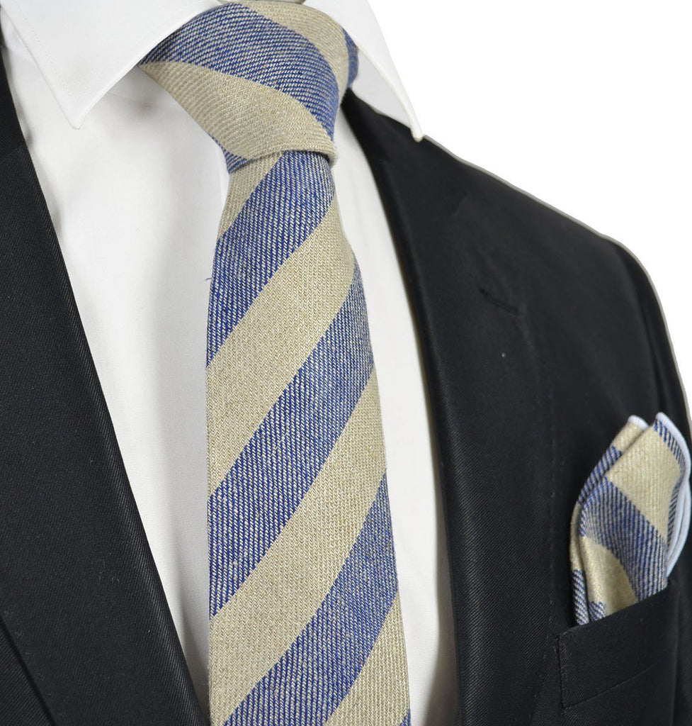 Blue Striped Linen Tie Set by Paul Malone Paul Malone Ties - Paul Malone.com