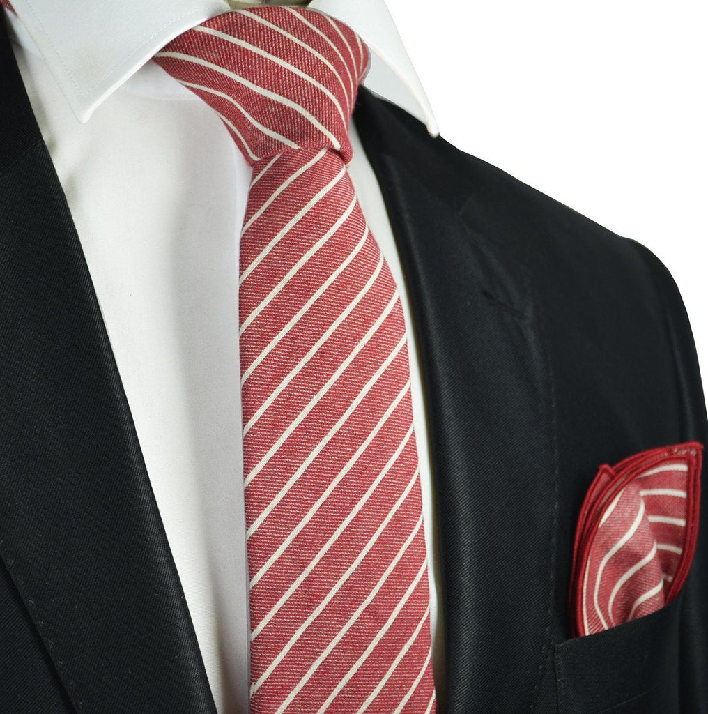 Burgundy Striped Linen Tie Set by Paul Malone Paul Malone Ties - Paul Malone.com