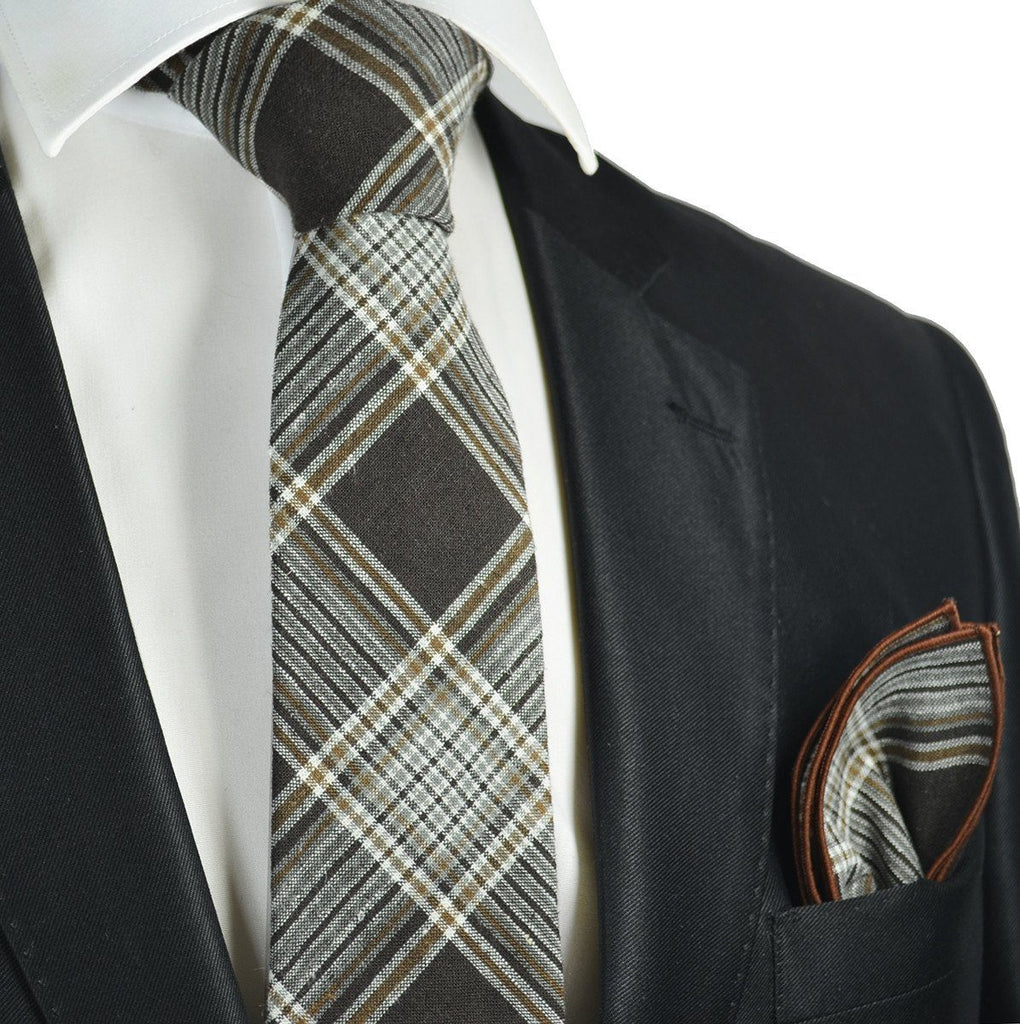 Mustang Brown Plaid Linen Tie and Pocket Square by Paul Malone Paul Malone Ties - Paul Malone.com