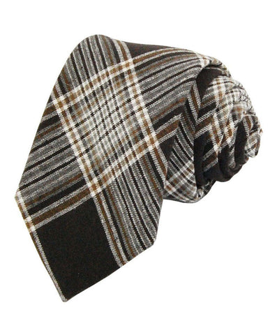 Mustang Brown Plaid Linen Necktie Paul Malone Ties - Paul Malone.com