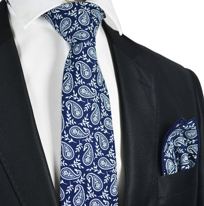 Blue and White Paisley Cotton Tie and Pocket Square by Paul Malone Paul Malone Ties - Paul Malone.com