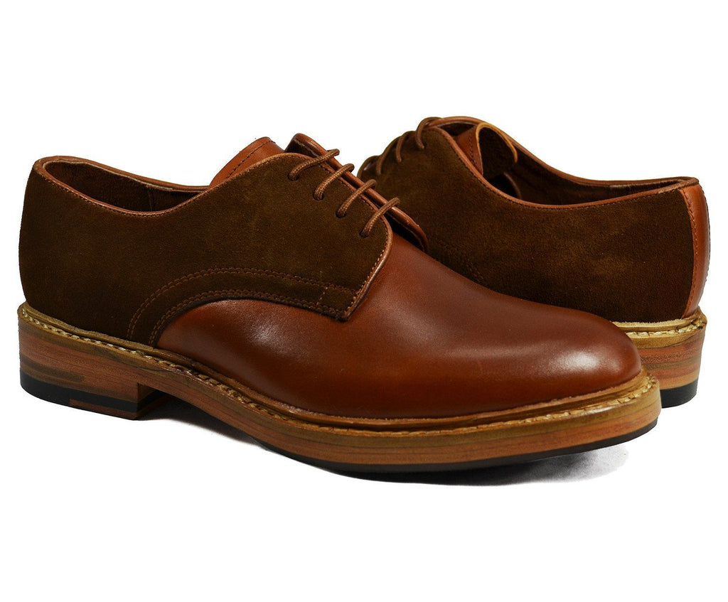 HARVARD Brown Derby in Nappa and Suede Leathers Paul Malone Shoes - Paul Malone.com