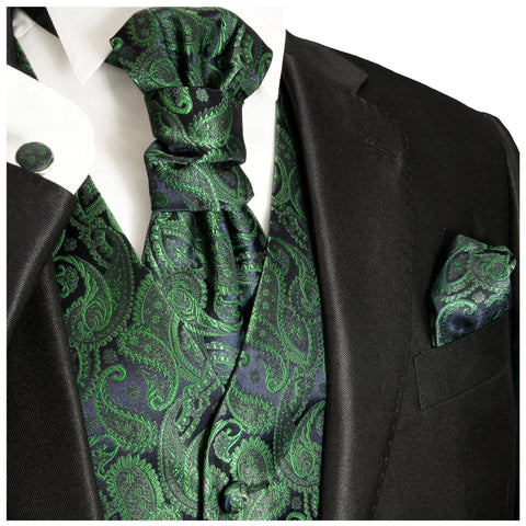 Emerald Green Paisley Vest and Bow Tie Set