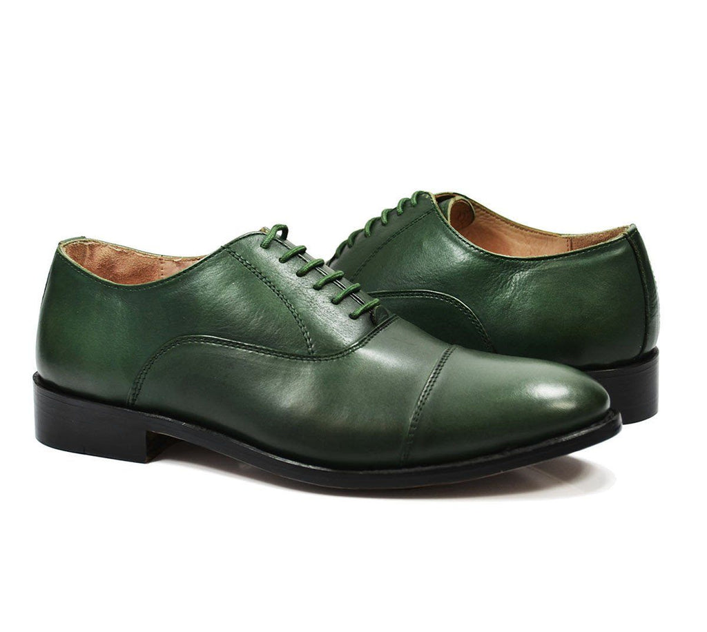 HUDSON Cap-toe in Smoke Pine Green, Full Leather by Paul Malone Paul Malone Shoes - Paul Malone.com