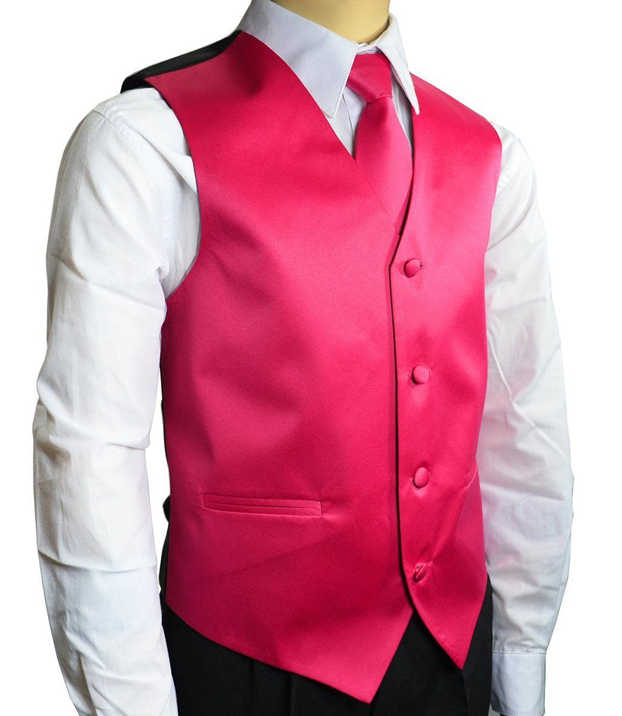 Solid Hot Pink Boys Tuxedo Vest and Necktie Set Brand Q Vest - Paul Malone.com