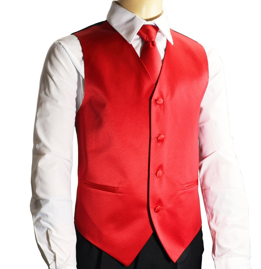 Solid Apple Red Boys Tuxedo Vest and Necktie Set