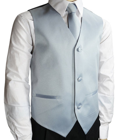 Solid Tiffany Blue Boys Tuxedo Vest and Necktie Set