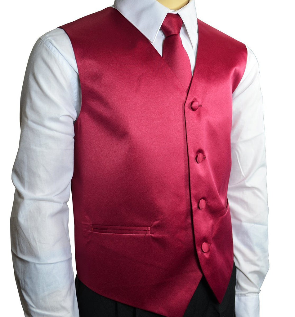 Solid Burgundy Boys Tuxedo Vest and Necktie Set Brand Q Vest - Paul Malone.com