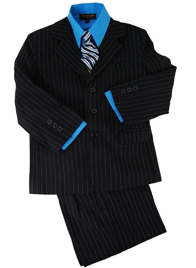 Boys Suit Set Black with Blue Pinstripes Van Gogh Suits - Paul Malone.com