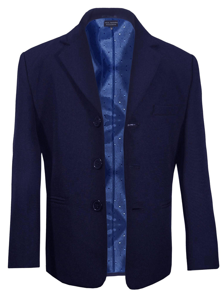 Classic Navy Blue Boys 3-Button Suit Jacket by Paul Malone Suits Paul Malone