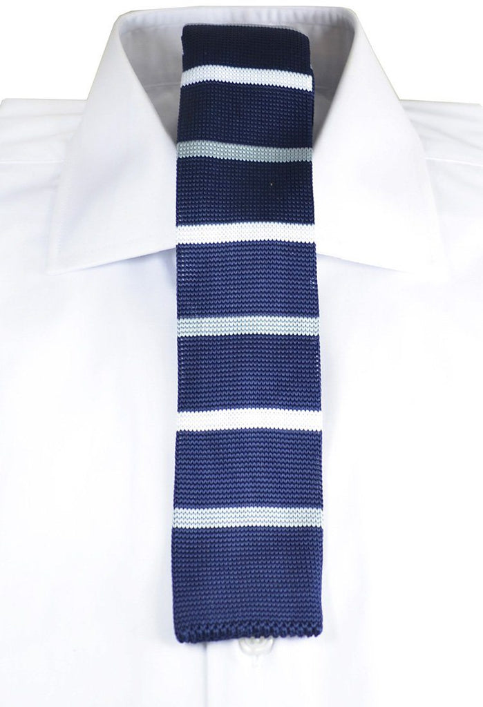 Navy and White Striped Knit Tie by Paul Malone Paul Malone Ties - Paul Malone.com