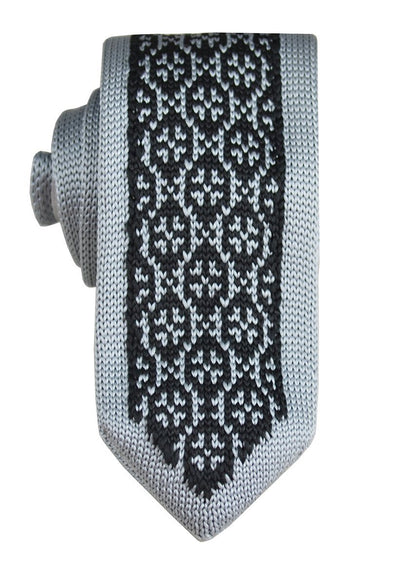 Grey and Black Patterned Knit Tie by Paul Malone Paul Malone Ties - Paul Malone.com