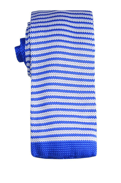 Blue and White Striped Knit Tie by Paul Malone Paul Malone Ties - Paul Malone.com