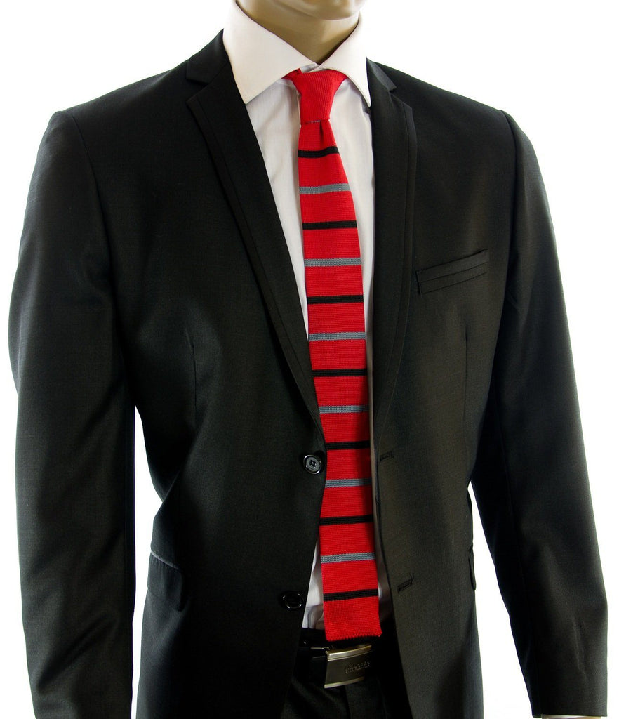 True Red Striped Knit Tie by Paul Malone Paul Malone Ties - Paul Malone.com