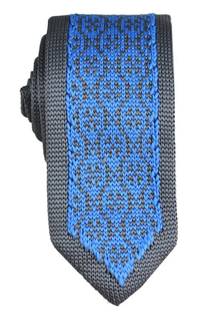 Necktie in Sky Blue and Gold Paisley Design