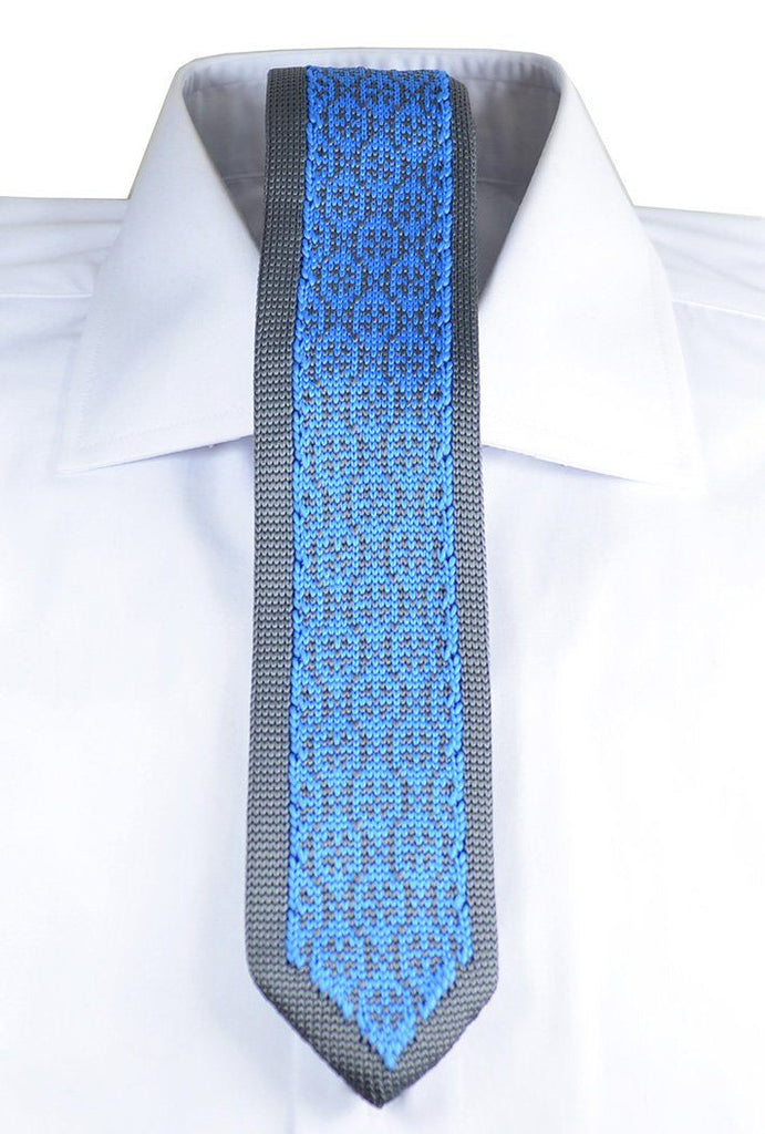 Grey and Blue Patterned Knit Tie by Paul Malone Paul Malone Ties - Paul Malone.com