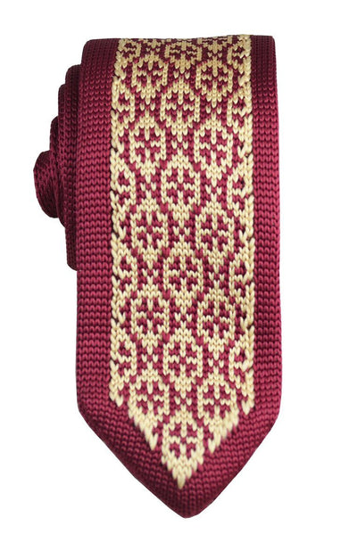 Burgundy and Gold Patterned Knit Tie by Paul Malone Paul Malone Ties - Paul Malone.com