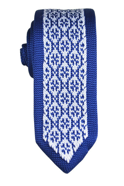 Blue and White Patterned Knit Tie by Paul Malone Paul Malone Ties - Paul Malone.com