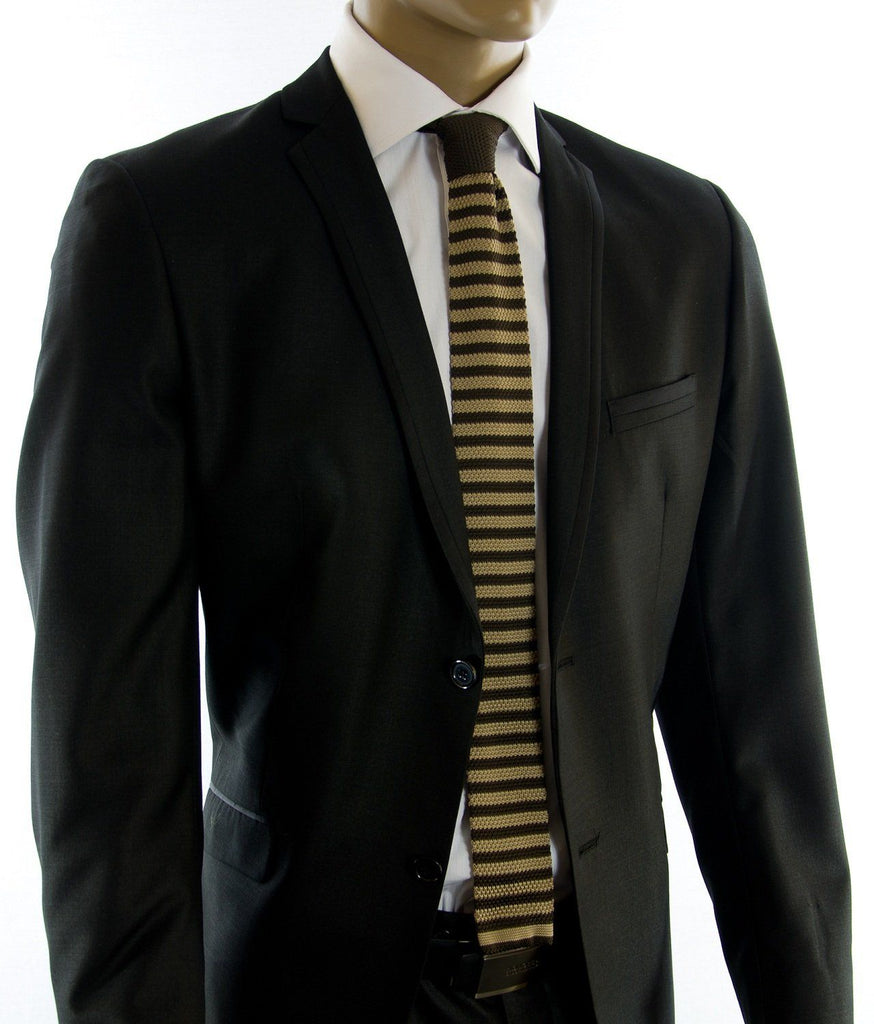 Tan and Brown Striped Knit Tie by Paul Malone Paul Malone Ties - Paul Malone.com