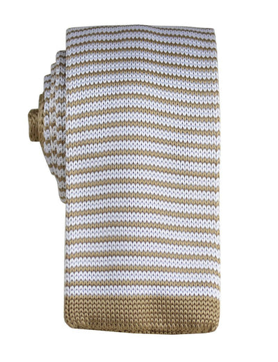 Tan Striped Knit Tie by Paul Malone Paul Malone Ties - Paul Malone.com
