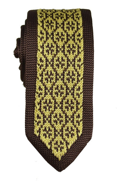 Brown and Gold Patterned Knit Tie by Paul Malone Paul Malone Ties - Paul Malone.com