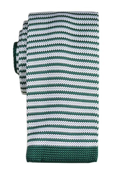 Green and White Striped Knit Tie by Paul Malone Paul Malone Ties - Paul Malone.com