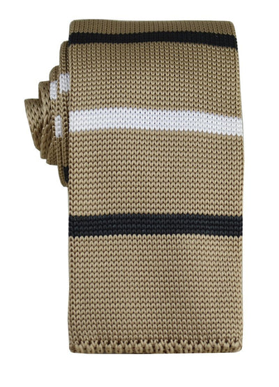 Tan, Black and White Striped Knit Tie Paul Malone Ties - Paul Malone.com