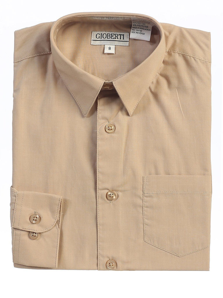 Classic Khaki Boys Dress Shirt Gioberti Shirts - Paul Malone.com