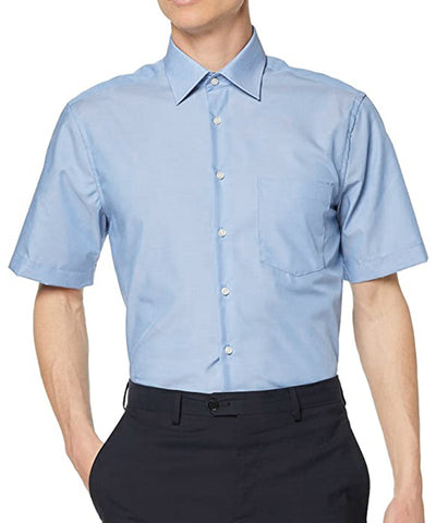 Light Blue Poplin Short Sleeve Dress Shirt Modena Shirts - Paul Malone.com