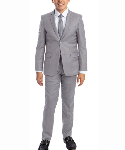 Solid Light Grey Boys Suit Set with Vest, Tie and Shirt Perry Ellis Suits - Paul Malone.com
