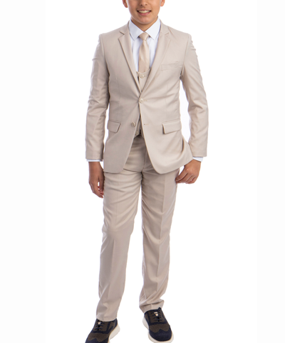 Solid Tan Boys Suit Set with Vest, Tie and Shirt Perry Ellis Suits - Paul Malone.com