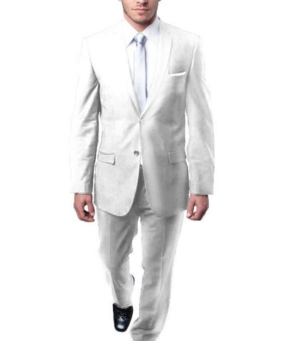Ultra Slim Solid White Men's Suit Tazio Suits - Paul Malone.com