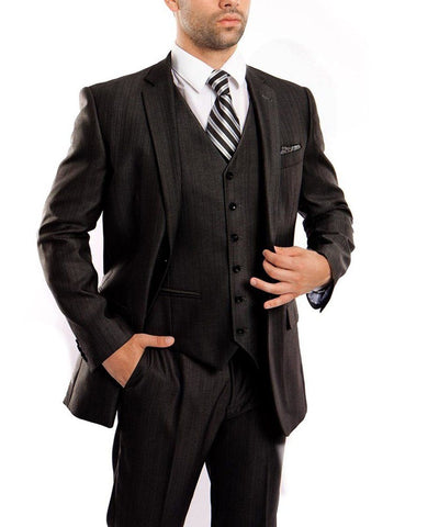 Classic Solid Textured Black Suit with Vest Tazio Suits - Paul Malone.com