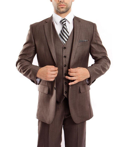 Classic Brown Solid Textured Suit with Vest Tazio Suits - Paul Malone.com