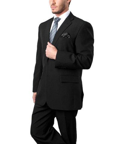 Modern Fit Black Striped Men's Suit Tazio Suits - Paul Malone.com