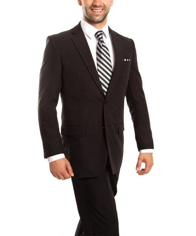 Slim Fit Solid Black Men's Suit Tazio Suits - Paul Malone.com
