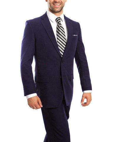 Slim Fit Solid Navy Men's Suit Tazio Suits - Paul Malone.com