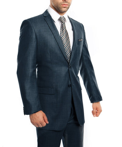 Sharkskin Mid Navy Ultra Slim Men's Suit Tazio Suits - Paul Malone.com