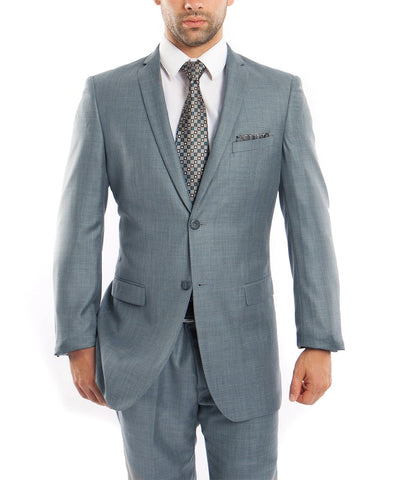 Sharkskin Smoke Blue Ultra Slim Men's Suit Tazio Suits - Paul Malone.com