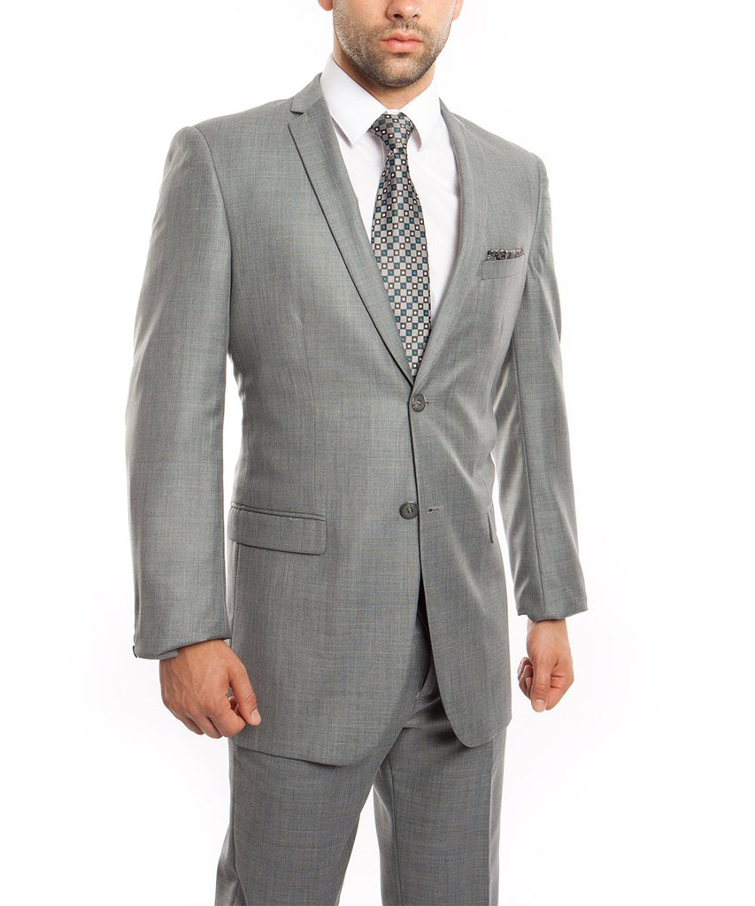 Sharkskin Grey Ultra Slim Men's Suit Tazio Suits - Paul Malone.com