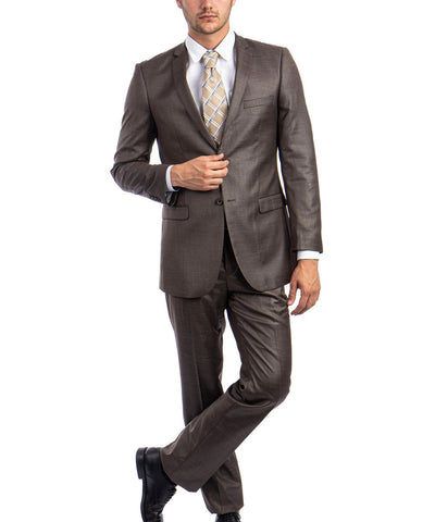 Sharkskin Cocoa Brown Ultra Slim Men's Suit Tazio Suits - Paul Malone.com