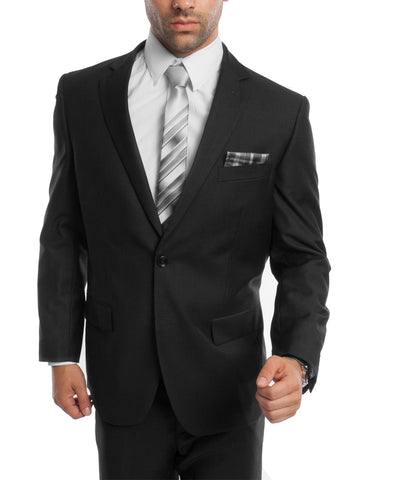 Classic Solid Black Modern Fit Men's Suit Demantie Suits - Paul Malone.com