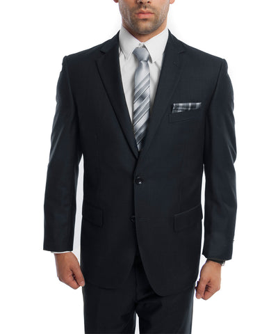 Classic Solid Dark Navy Modern Fit Men's Suit Demantie Suits - Paul Malone.com